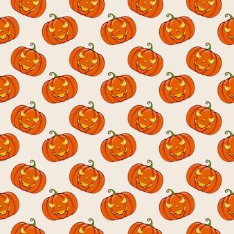 Sfondo di halloween con zucche. modello senza soluzione di continuità.