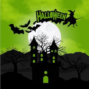 Sfondo di Halloween con zucche nei pipistrelli erba e la luna sul retro