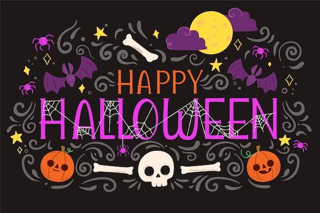 Sfondo di halloween design piatto con teschio e ossa