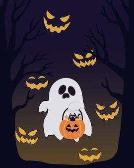 Sfondo di halloween fantasma con gatto nella notte spaventosa.