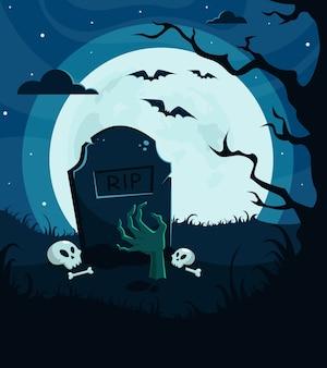 Sfondo di halloween, invito. cimitero con mano di zombie, luna piena, albero, notte spaventosa.