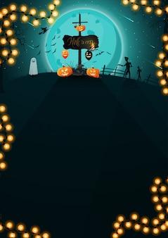 Sfondo di halloween, paesaggio notturno con grande luna piena blu, zombie, streghe e fantasmi.