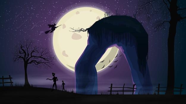 Sfondo di halloween, paesaggio notturno viola con grande luna piena, zombie, alberi secolari e streghe nel cielo