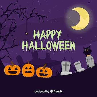 Sfondo di halloween raccapricciante con design piatto