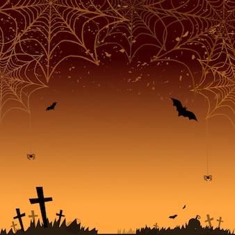 Sfondo di halloween. vector sfondo arancione di halloween con molti pipistrelli