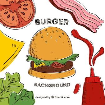 Sfondo di hamburger con ingredienti gustosi
