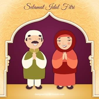 Sfondo di idul fitri con coppia di musulmani