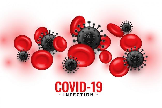 Sfondo di infezione da covid-19 con piastrine nel sangue e cellule virali