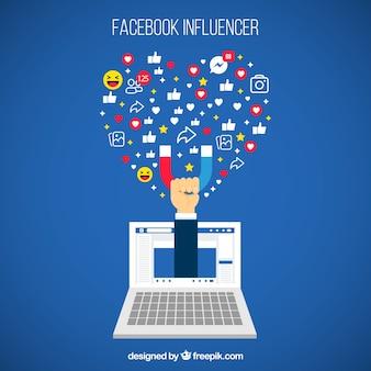 Sfondo di influencer di facebook con decive ed emoticon