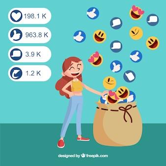 Sfondo di influencer di facebook con emoticon