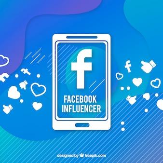 Sfondo di influencer di facebook in colori sfumati