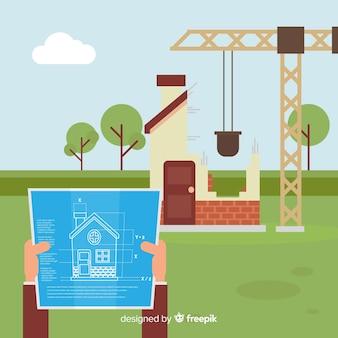 Sfondo di ingegneria di costruzione piatta