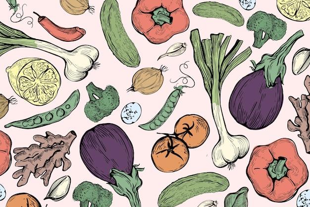 Sfondo di ingredienti alimentari e melanzane