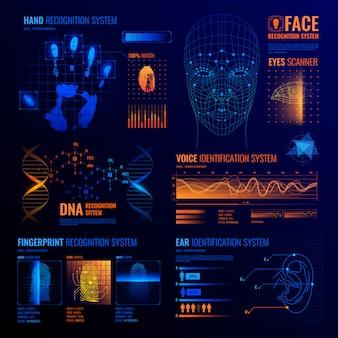 Sfondo di interfacce di identificazione futuristica