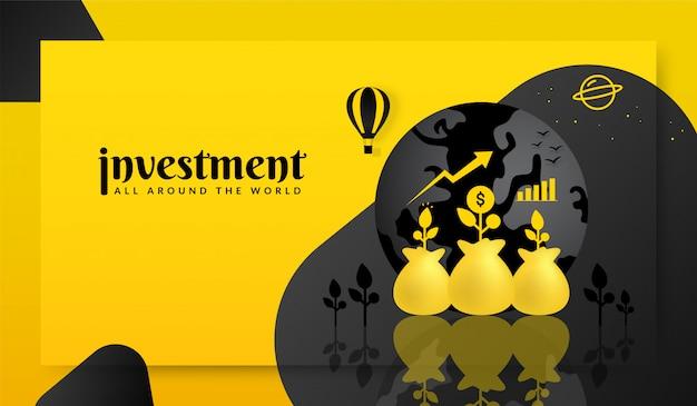 Sfondo di investimento aziendale globale, investendo in tutto il mondo concetto