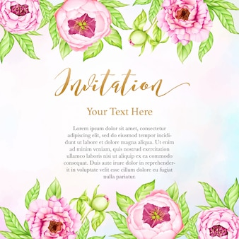 Sfondo di invito di nozze con fiori di peonia acquerello