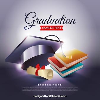 Sfondo di laurea con biretta e libri