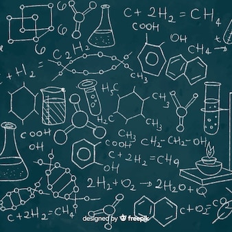 Sfondo di lavagna con informazioni di chimica