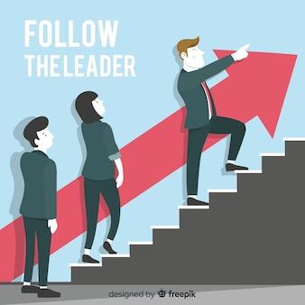 Sfondo di leadership in stile piatto