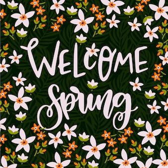 Sfondo di lettere di benvenuto di primavera