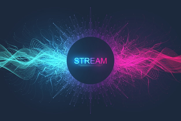 Sfondo di linee e punti di movimento dinamico astratto con particelle colorate. sfondo streaming digitale, flusso d'onda. sfondo di flusso di plesso. tecnologia big data, illustrazione