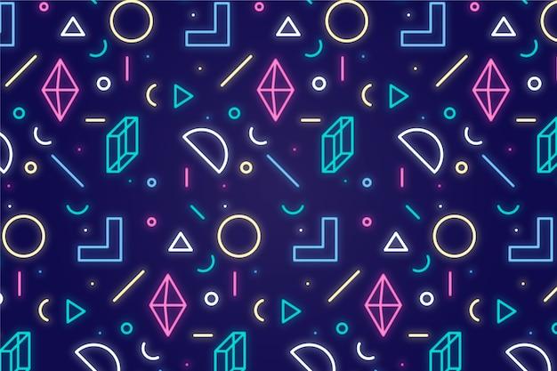 Sfondo di luci al neon di forme geometriche