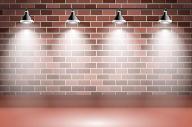 Sfondo di luci spot sul muro di mattoni