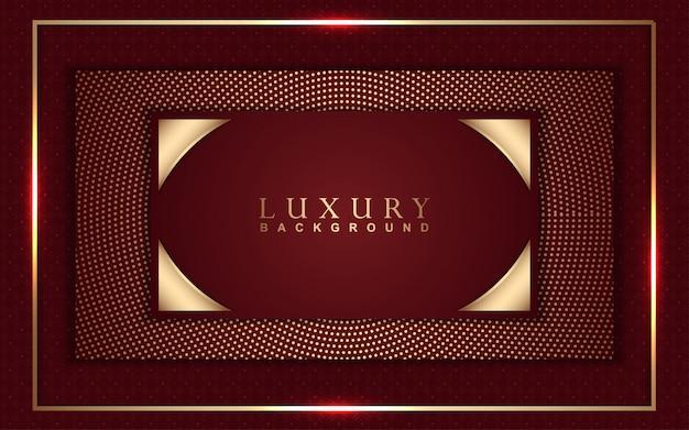 Sfondo di lusso astratto con decorazioni luminose rosse e dorate
