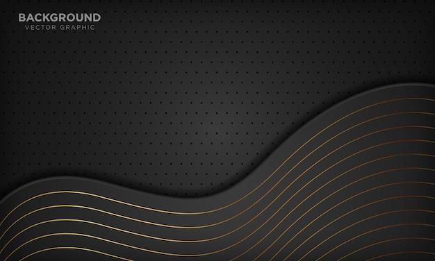 Sfondo di lusso astratto nero onda con linee dorate.