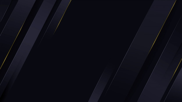 Sfondo di lusso blu scuro con strisce chiare e oro scintillante.
