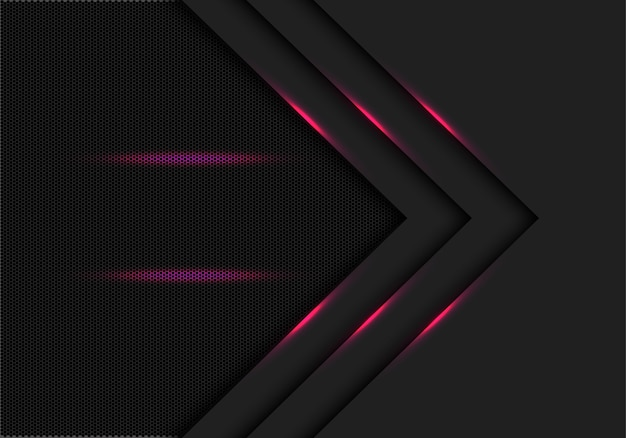 Sfondo di maglia di esagono nero linea di luce rosa freccia direzione.