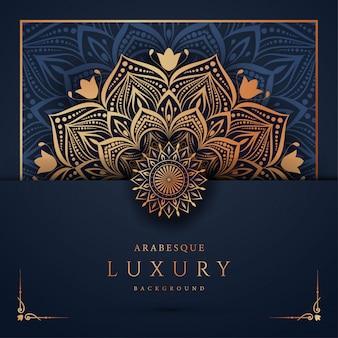 Sfondo di mandala di lusso con arabeschi dorati arabi arabi stile orientale