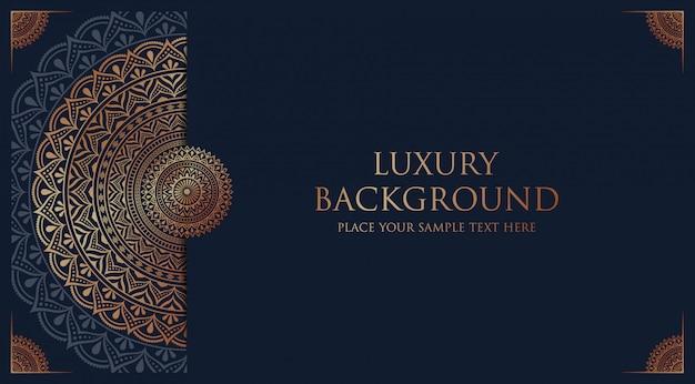Sfondo di mandala di lusso con arabeschi dorati decorazione araba stile islamico orientale