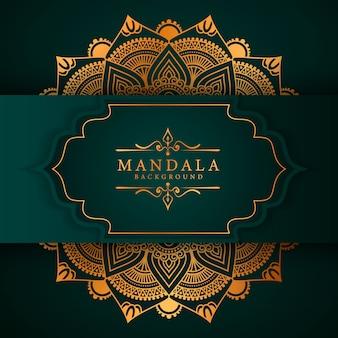 Sfondo di mandala di lusso con arabeschi dorati in stile arabo islamico