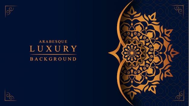 Sfondo di mandala di lusso con decorazione arabesca dorata