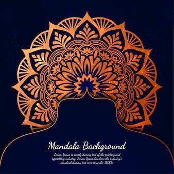 Sfondo di mandala di lusso con motivo arabesco dorato stile orientale islamico arabo