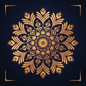 Sfondo di mandala di lusso con motivo arabesco dorato