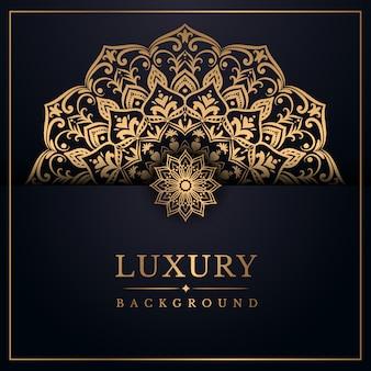 Sfondo di mandala di lusso con stile arabesco dorato