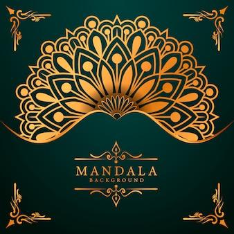 Sfondo di mandala di lusso per invito a nozze copertina del libro