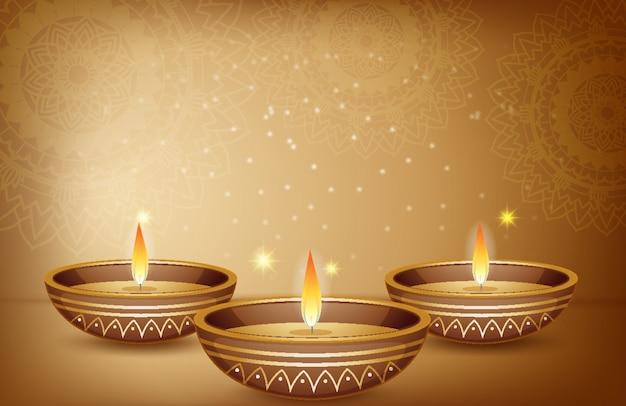 Sfondo di mandala e lume di candela