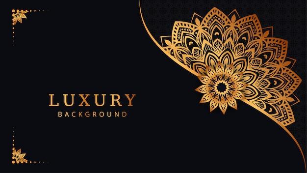 Sfondo di mandala ornamentale di lusso moderno con stile orientale islamico arabo arabesco dorato