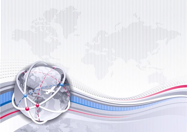 Sfondo di mappa del mondo con il pianeta terra lucido. disegno astratto con onde blu e argento. grafica in stile business 3d con globo terrestre.