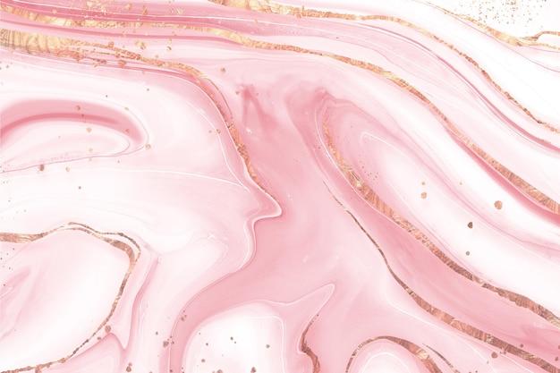 Sfondo di marmo liquido con texture lucida dorata