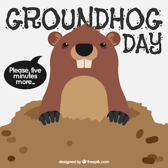 Sfondo di marmotta in den per groundhog day