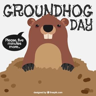 Sfondo di marmotta in den per groundhog day