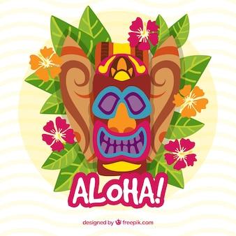 Sfondo di maschera hawaiana con foglie e fiori