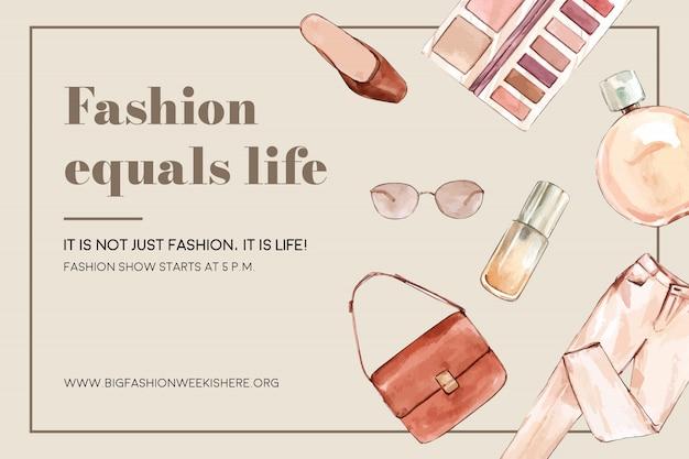 Sfondo di moda con borsa, pantaloni, cosmetici