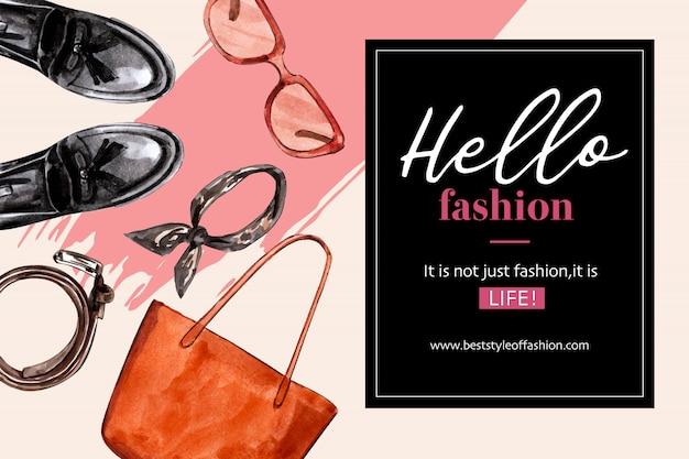 Sfondo di moda con borsa, scarpe, occhiali da sole