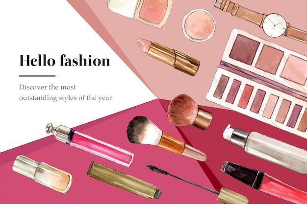 Sfondo di moda con orologio e cosmetici