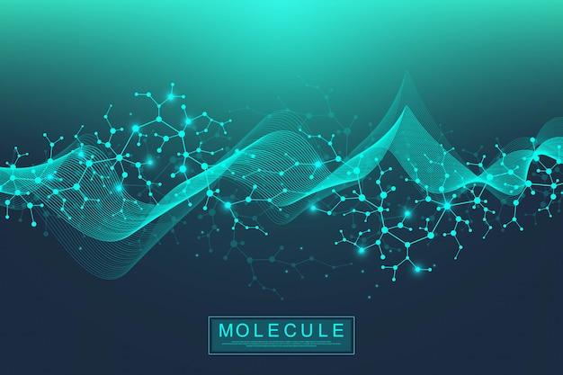 Sfondo di molecola scientifica doppia elica del dna con profondità di campo. misterioso o con molecole di dna. informazioni sulla genetica